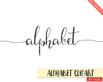 Black watercolor alphabet clipart, ink letters with swatches, black digital alphabet, alternative letters print, download
