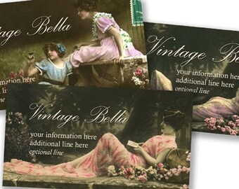 Vintage Edwardian Actresses in Woods BUSINESS CARDS by Vintage Bella