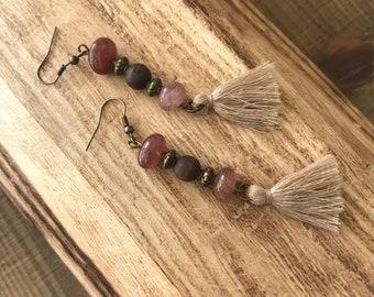 Women long earrings with tassels . Bohemian earrings with deep shades of pink and purple. Strawberry Quartz gemstones earrings.