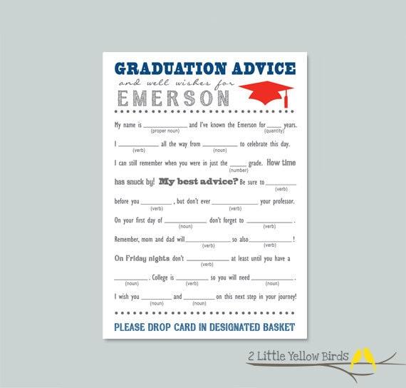 Graduation Advice Cards Mad Libs