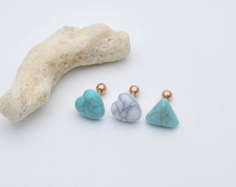 Cartilage earring,Helix Earring Studs,tragus earring,turquoise earrings,rosegold earrings