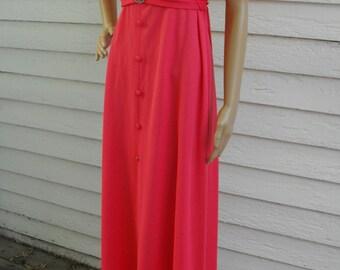 70s Lace Cape Dress Hippie Retro Maxi 1970s Vintage Pink Coral M L