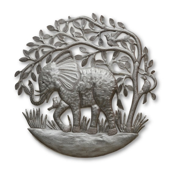 Lone Elephant, Quality Handcrafted Haitian Metal Sculpture, One-of-a-Kind 23.5x23.5