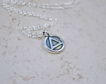 Sterling Silver Recovery Necklace, Recovery Meditation Charm, Spiritual Yoga Jewelry, Self Help Milestone Addiction Jewelry