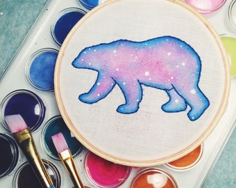 Galaxy Bear Embroidery Hoop Art, Nebula Watercolor, Polar Bear Wall Hanging