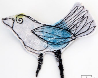 Textile jewelry bird brooch- Sculptural textile art pin - Fiber art bird sculpture to pin- Sculptural felt brooch - felt art brooch