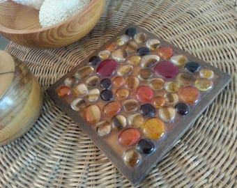 Retro Glass Pebble Trivet with Wooden Frame / 70s Trivet with Orange, Yellow and Red Glass Mosaic Pebbles