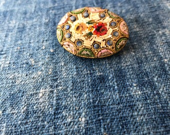 Vintage Italian Mosaic Brooch, Micro Mosaic Brooch, Floral Mosaic 1930's Made in Italy