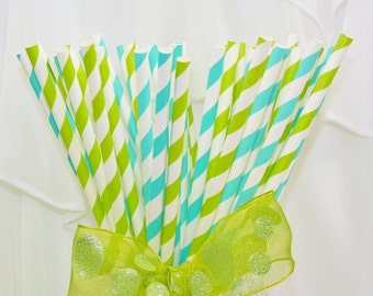 Trendy AQUA w/a Twist of LIME Striped Paper Party Straws, 50 Drinking Straws w/ Guest d.i.y.Custom Drink Flags & Pixie CANDY Straws