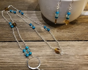 Blue and brown silver necklace