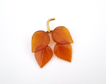 Apple Juice Amber Lucite Brooch / Mid Century Butterscotch Leaves Pin
