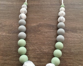 Silicone Teething Necklace for Mom - Smoky Mint, Marble & Gray - Nursing Necklace - Teething Baby - Baby Shower Gift -