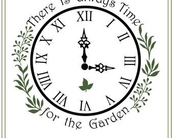 Garden SVG File, Clock svg, Herbs svg, Glass Block Design, SVG file, vinyl cutting, printable, iron on transfer, Garden