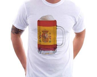 Spain Country Flag Beer Mug Tee, Home Tee, Country Pride, Country Tee, Beer Tee, Beer T-Shirt, Beer Thinkers, Beer Lovers Tee