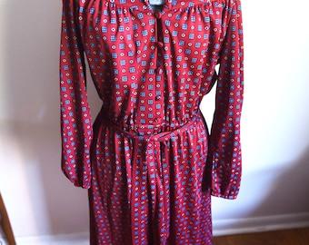 Large - Burgundy Secretary Dress