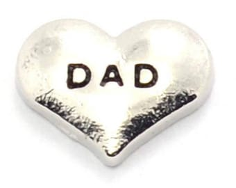 Dad Heart Floating Charm for Glass Memory Locket FC28 - 1 Charm