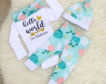 "Mint Floral ""Hello World"" Set - Gold"