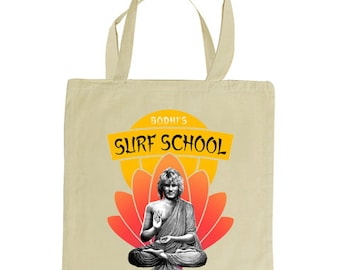 BODHI'S SURF School tote bag. Inspired by the 1991 film Point Break. natural tote 100% cotton