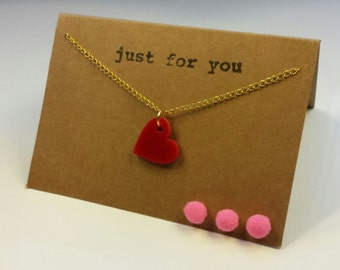 Red Heart Gold Plated Necklace on Personalised Gift Card. Birthday card. Thank you card. Write your own message inside!
