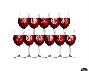 11 Custom Wine Glasses, SHIPS FAST, Etched Monogram Wine Glasses, Personalized Wine Glasses, Engraved Monogrammed Wine Glasses, Wedding