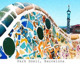 Park Güell Print, Brushstroke, Barcelona, Spain, Colorful, Architecture, Mediterranean, Photography, Prints, Wall Art, Fine Art Prints