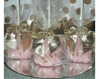 12 pink and gold chocolate dipped and glittered jumbo marshmallow pops