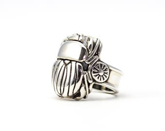 Scarab Ring, Beetle Ring, Silver Scarab Ring, Bronze Scarab Ring, Scarab Jewelry, Handcarved Scarab Ring, Sun Symbol Ring, made in USA