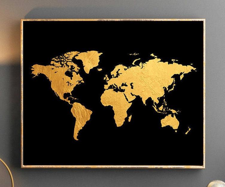 monde or carte mappemonde mur art or monde carte affiche or. Black Bedroom Furniture Sets. Home Design Ideas