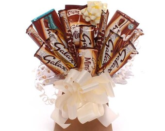 Galaxy chocolate bouquet, Galaxy hamper, a selection of different flavours of Galaxy chocolate bars in a bouquet, ideal gift.