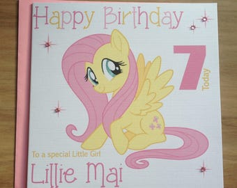 Handmade Personalised My Little Pony Fluttershy Birthday Card 1st 2nd 3rd 4th 5th +