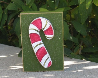 CANDY CANE BLOCK for Christmas, Winter, Noel, shelf, desk, office, mantle and home decor