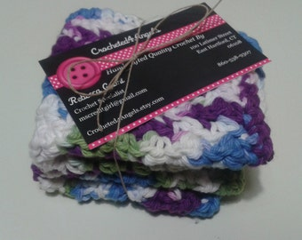 Reusable Crocheted Cotton Dishcloths, Washcloths, Set of 2- Blue,Purple,Green and White Multi Color