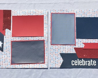 Premade Scrapbook Pages  4th of July  Independence Day  2 pages