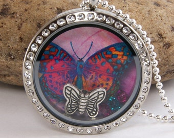 Memory Floating Charm Locket Necklace - Pink Purple Butterfly