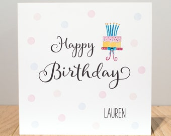 Personalised Birthday Card - Girls Birthday Card - Personalised Cake Birthday Card - Personalised Ladies Birthday Card