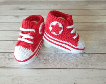 Red baby shoes, Baby shower gift, Girls shoes, Boys shoes, Crochet baby shoes, Red crib shoes, Red shoes, Baby girl, Baby  boy