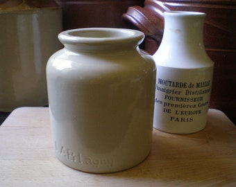 Vintage French LAB Lagny Stoneware Mustard Jar/Crock Glazed Stoneware Crock French Country Kitchen Rustic Kitchen Decor Farmhouse Kitchen