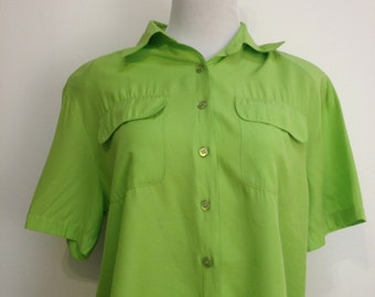 Vintage Lime Green Cropped Button-Up