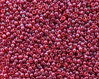 8/0 Toho Seed Beads - 15 grams - Gold Lustered Raspberry 8/0 Toho Seed Beads - 2498 - Gold Lustered Raspberry Toho Seed Beads