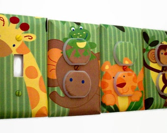 Jungle Light Switch Cover - Jungle Nursery Decor - Safari Outlet Covers