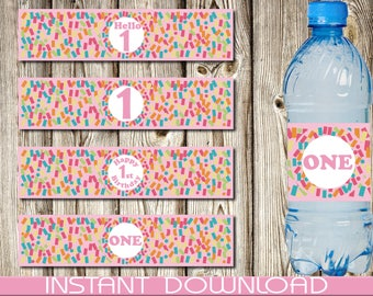 Printable Water Bottle Label, First Birthday, Celebration, Confetti, Pink, Girl, One, Instant Download, DIY, Printable, PDF