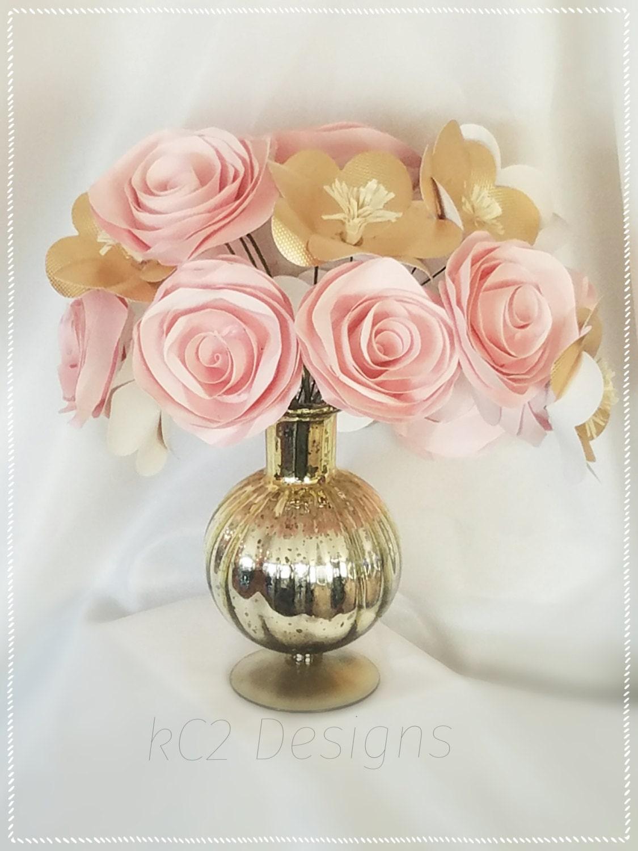 Paper Flowers. Rose gold wedding. Set of paper roses. Wedding