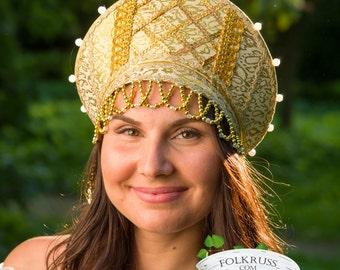 Russian traditional hat kokoshnik with strap, Russian crown, Russian traditional headwear, Russian tiara, Slavic headdress
