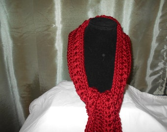 Crocheted Long Burgundy Scarf
