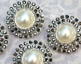 4 pieces - 25mm Silver  Metal MORION BLACK Diamond Crystal Pearl Rhinestone Buttons - wedding / hair / garment accessories Flower Center