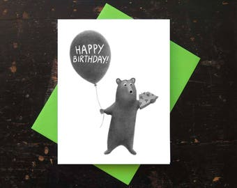 Pizza Bear Birthday Card