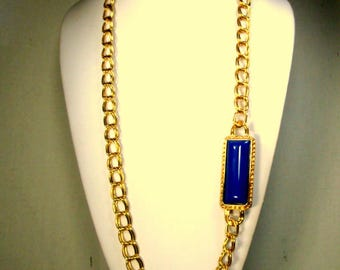 Long Gold Chain Necklace w Navy Side Accent, 1980s, No Catch