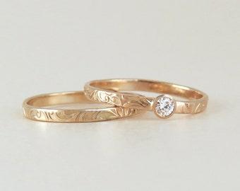 Rose Gold Ring Set, Engagement Ring and Wedding Ring Set, Floral Engagement Ring, Thin Wedding Band,  Diamond Ring, 14k Gold Bridal Ring Set