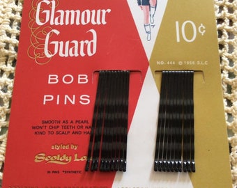 Vintage 1950s Bobby Hair Pins Deadstock On Original Display Card Rubber Tipt Glamour Guard Bob Pins Scolding Locks Corp. Appleton, Wisconsin