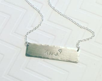 Nana Necklace - Grandma Necklace - Hand Stamped Necklace - Gift For Her - Gift For Nana - Mothers Day Gift - Silver Bar Necklace